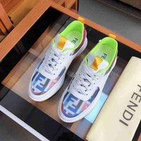 Fendi Fashion Boots fashionable Casual Men leather Breathable Sneakers Running Shoes