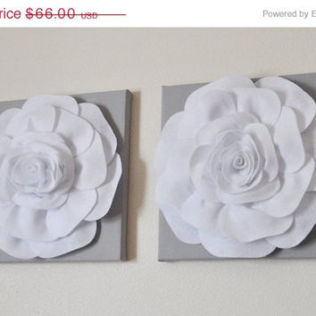 "MOTHERS DAY SALE Two Rose Wall Hangings -White Rose on Solid Light Gray 12 x12"" Canvases Wall Art- 3D Felt Flower"