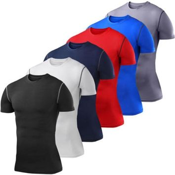 Mens Compression Baselayer Shirt Body Armour Short Sleeve T-Shirt Tight Gear Top