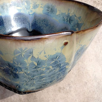 Blue Crystalline Glaze Full Sized Bowl for Soup or Pasta, Hand Built Porcelain Art Vessel, Ceramic Dinnerware 6.25 w X 3.5 tall. Food safe