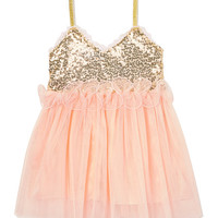 Gold Sequin & Pink Ruffle Dress - Infant, Toddler & Girls
