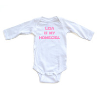 Leia is My Homegirl Baby Bodysuit Star Wars Starwars Pink Print on White Long or Short Sleeve Bodysuit Girl Clothes Baby Star Wars Clothes