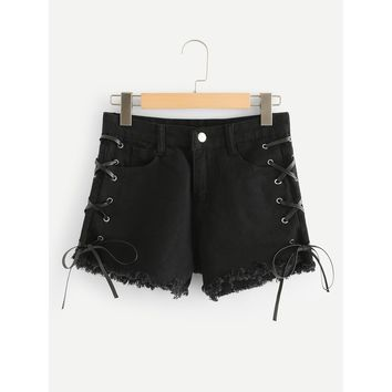 Lace Up Side Raw Hem Denim Shorts