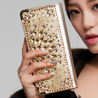 2016 Fashion Women Wallets handbag solid PU Leather Diamond Long bag black gold clutch Lady brand Cash phone card coin Purse