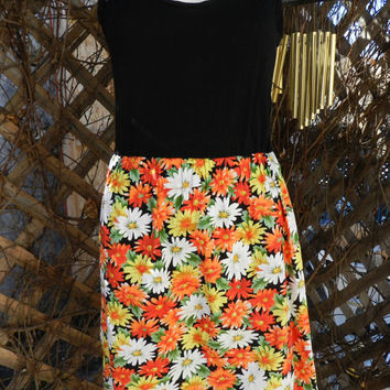 Vintage  Sleeveless Black Dress, Floral Print Short Skirt Bottom, Orange, Yellow, White Flowers, Grunge Girl Sun Dress