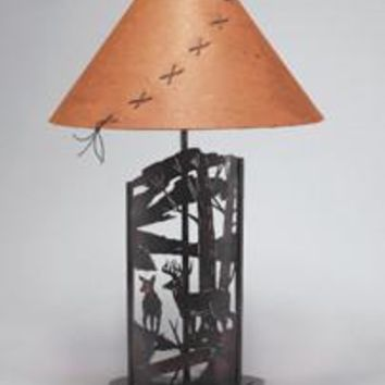 Laser Cut Steel Deer Lamp (Select Your Shade)