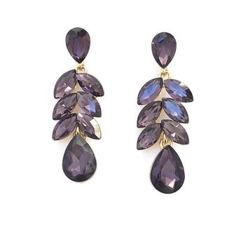 Purple Crystals On A Vine Earrings