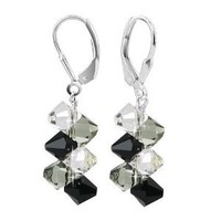 Gem Avenue Sterling Silver Swarovski Elements Black and Clear Dangle Handmade Crystal Earrings