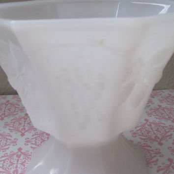 Vintage/Pedestal Bowl/Opaque White Milk Glass/Vase/Bowl/Container/Grape Pattern/1950's/Mid-Century/Kitchen/Home Decor