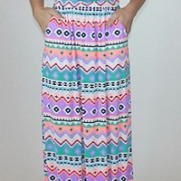 Neon Multi Colored Tribal Print Maxi Dress : Mesh