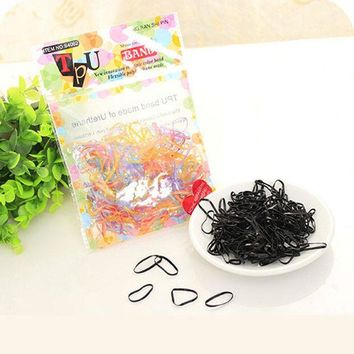 DCCKHY9 Black Multicolor Rubber Band Disposable Simple Hair Band for Women Headwear Hair Accessories