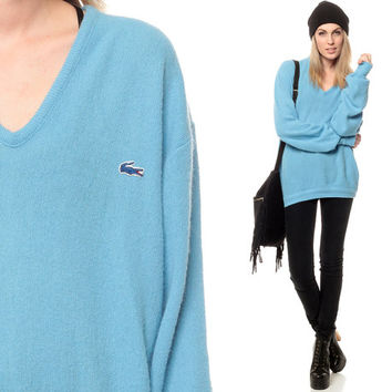Izod LACOSTE Sweater 80s Slouchy V Neck Oversized Pullover Blue Vintage 1980s Preppy Slouch Crocodile Men Women Extra Small Medium Large XS