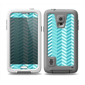 The Light Blue Thin Lined Zigzag Pattern Skin for the Samsung Galaxy S5 frē LifeProof Case