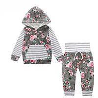 New baby boy clothes Children Baby Girls Long Sleeve Hooded Tops Floral pants clothing set