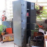 Narrow Steel Utility Lockers Tower / Cabinet Unit: Six Drawer Industrial Mid Century Gym or Factory Personnel / Employee Personal Storage