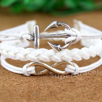 The Anchor bracelet - white infinity bracelet with the Anchor symbol charm for girls, valentine's day present for girlfriend and BFF