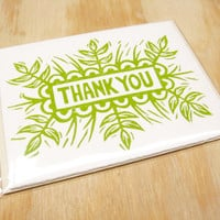Single Card - Sprout Green Thank You Card - 1 Block Printed Card