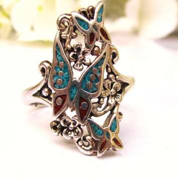 Vintage Micro Inlay Style Turquoise & Coral Butterfly Ring Vintage Orange Blossom Navette Ring Southwestern Style Silver Jewelry Size 10!