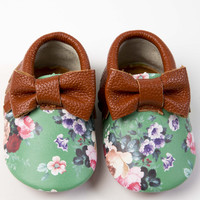 Leather Mint Floral Bow Moccasins