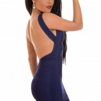 Dark Blue Sleeveless Bandage Dress with Open Back