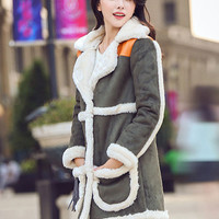 Notched Collar Faux Fur Patch Coat
