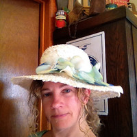 Shades of Blue Vintage Straw Womens Hat
