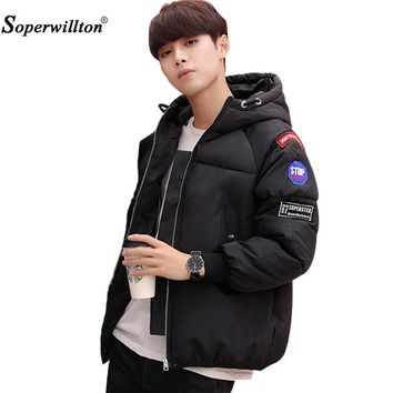 2017 Soperwillton Faishon Young Couple Military Style Winter Jackets Men's Epaulet Hooded Letter Pattern Coat Parkas Male W153#
