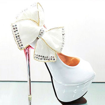 White/Black Glitter Princess Pretty Wedding Shoes Super High Heels