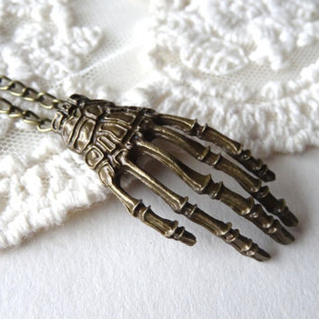 1- Skeleton Hand Necklace Antique Bronze Long Retro Punk Creepy Hand Statement Pendant Finished Necklace