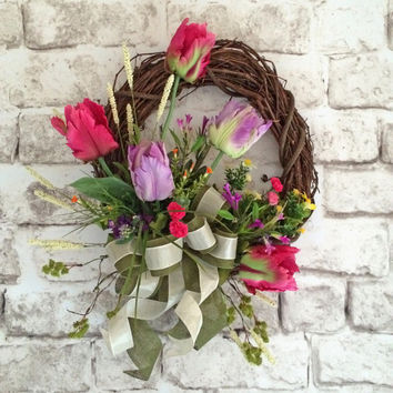 Tulip Wreath, Spring Wreath, Front Door Wreath, Silk Floral Wreath, Outdoor Wreath, Grapevine Wreath, Summer Wreath, Pink, Green, and Purple