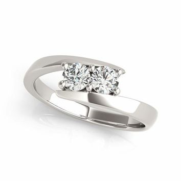 "I Love Us™  Two-Stone Ring 1/8 ct tw Diamonds 14K White Gold  ""My Best friend is My true love®"""