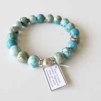 MagnesiteTurquoise Bracelet Dyed blue Turquoise Magnesite Stretch Bracelet Silver Bali Bead BS2