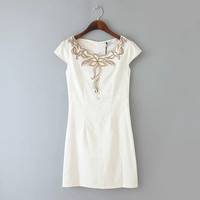 Flower Embroidered Cap-Sleeve Zippered Dress