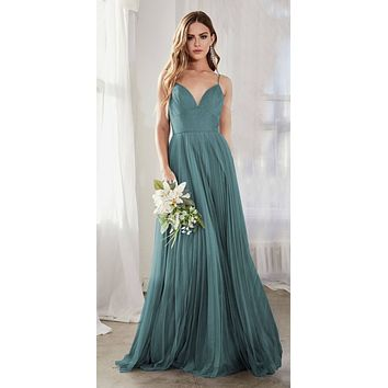 Long A-Line Tulle Dress Teal Gathered Sweetheart Neckline Pleated Finish