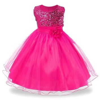Girls Flower sequins Dress Party Princess Dress Children kids clothes 9colors