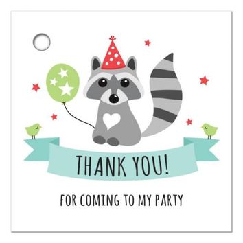 Raccoon with party hat and green balloon, birthday favor thank you gift tag