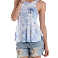 Blue Combo Los Angeles Graphic Tie-Dye Tank Top by Charlotte Russe