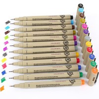 12 Colors/box Colored Sketch Micron Pen Fineliner Pigma Drawing Manga Anime Staedtler Marker Markers Finecolour