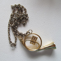 French horn pendant, vintage horn necklace, collecting jewelry
