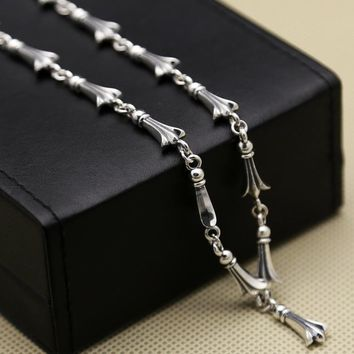 S925 Sterling Silver Personalized Cross Necklace Fashion Popular Men Couples Chain Thai Silver Chain