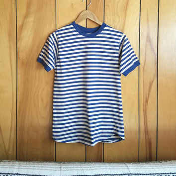 Vintage LL Bean Striped Ringer Tee//Size Medium//Made in Maine