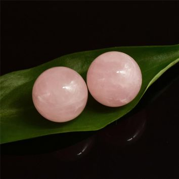 Crystal Sphere 2 pcs 20 mm Natural Rose Quartz Hand Massager Crystal Balls Healing Chakra Reiki Ball Natural Stones and Minerals