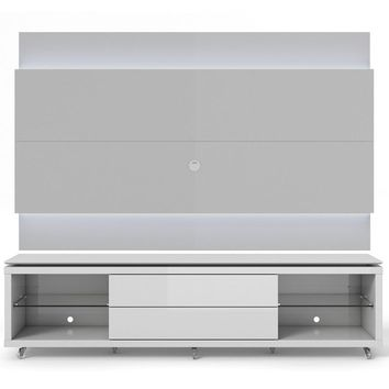 Manhattan Comfort Lincoln TV Stand with Silicone Casters and Lincoln Floating Wall TV