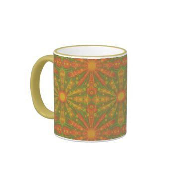"""Sunshine"" abstract pattern in orange and yelllow Ringer Coffee Mug"