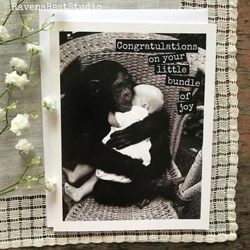 Congratulations on Your Little Bundle Of Joy Funny Vintage Style New Baby Congratulations Card Pregnancy Card Baby Shower Card FREE SHIPPING