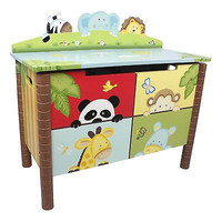Kids Sunny Safari Fantasy Toy Kid Chest Nursery Storage Bench Furniture New