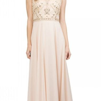 Champagne Beaded Long Formal Dress with Scoop Neckline