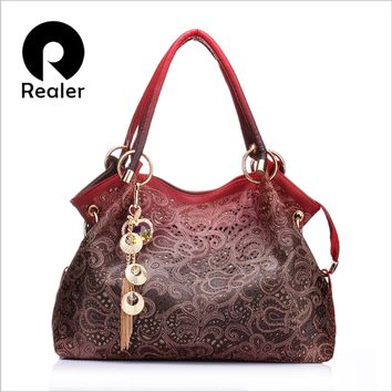 REALER brand women bag hollow out ombre handbag floral print shoulder bags ladies pu leather tote bag red/light gray/blue/pink