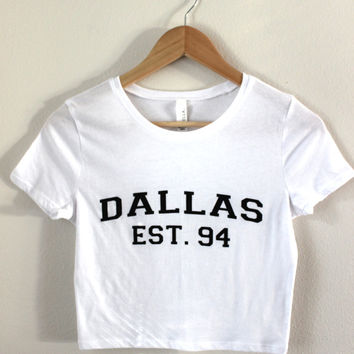 Dallas Est. 94 White Graphic Crop Top