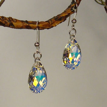 Sterling Silver Teardrop Aurora Borealis Crystal Pear Earrings